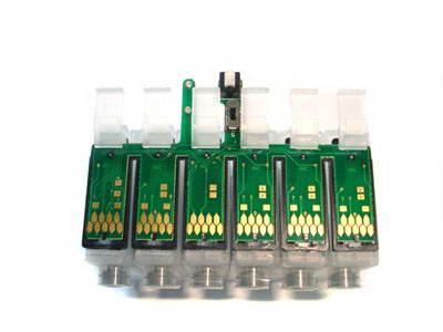 блок картриджей R290 с установленной планкой АО чипов и креплением чернильного шлейфа